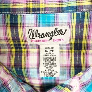 Wrangler Wrancher Western Shirt Pearl Button Plaid